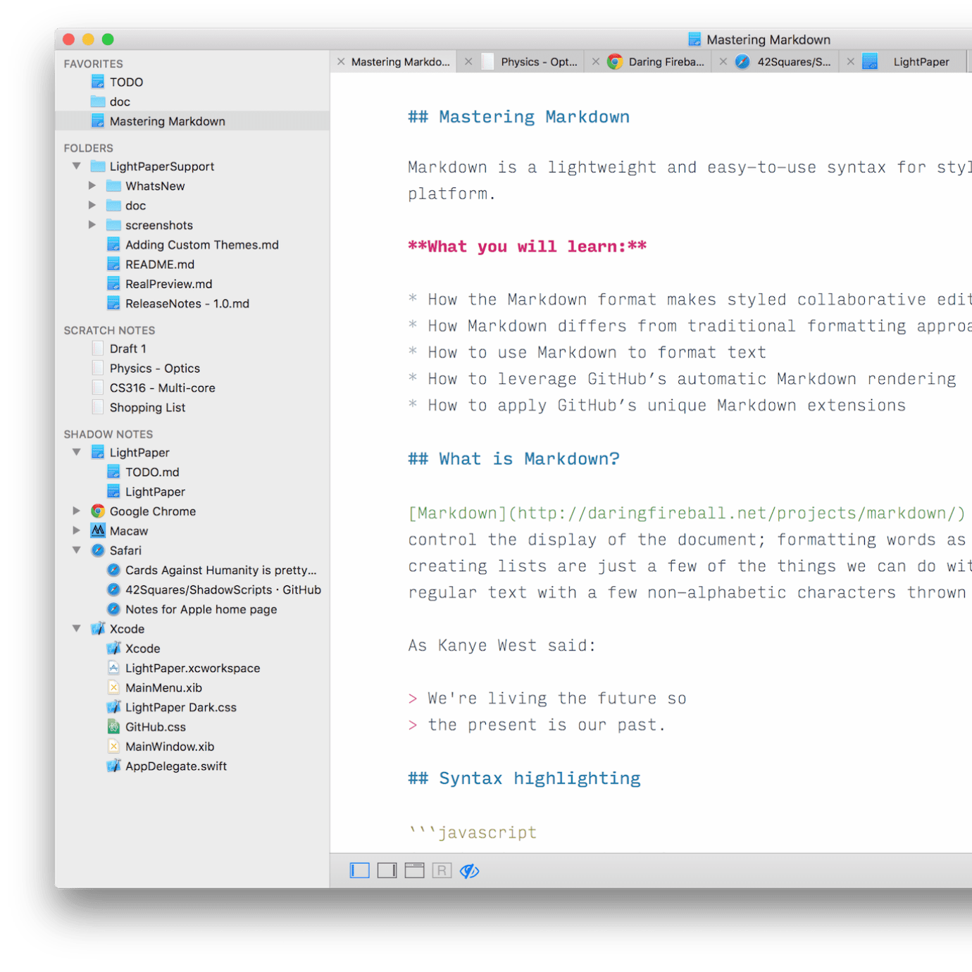 LightPaper - Probably the best text+markdown editor for your Mac